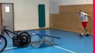This guy combined obstacle course, Chain reaction, and gymnastics. All in one in less than a minute. Brilliant!!