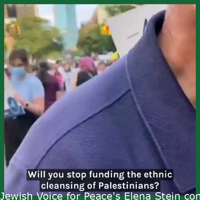 """Jewish Voice for Peace's Elena Stein confronts Senator Chuck Schumer: """"New York Jews demand you stop funding the ethnic cleansing of Palestinians."""""""